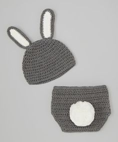 Look at this #zulilyfind! Gray Bunny Crocheted Beanie & Diaper Cover - Infant #zulilyfinds