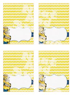 Printable Despicable Me Minion Food Tents Minion Birthday Party