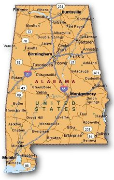 Map of Alabama - Includes city, towns and counties. | United States ...