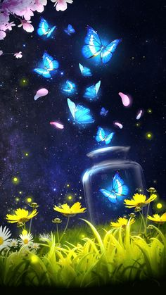 Shiny blue butterfly live wallpaper with starr… Android live wallpaper/background!Shiny blue butterfly live wallpaper with starry sky as background!