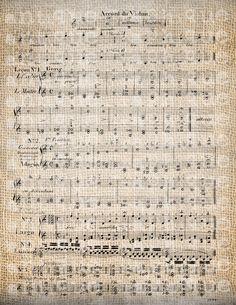 Antique Violin Old Sheet Music Vintage Orchestra Digital Download for Papercrafts, Transfer, Pillows, etc Burlap No. 3499. $1.00, via Etsy.