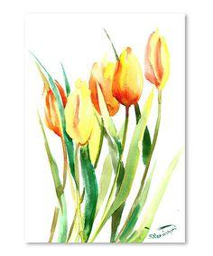 Yellow & Orange Tulips Wall Art #zulily #zulilyfinds