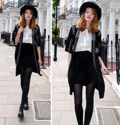 Cosette Munch - Chic Wish Black Hat, Blacknwhite Kimono, White Chiffon Blouse, Rw Black Boots - Notting Hill