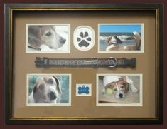 Keep the memories of your precious pet alive with a personalized memorial pet shadow box. The Colbert Custom Framing Art Printing family would like to help honor your faithful four legged friend's memory. I Love Dogs, Puppy Love, Dog Shadow Box, Dog Memorial, Memorial Ideas, Pet Remembrance, Maila, Crazy Dog Lady, Dog Crafts