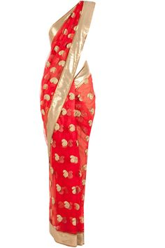 Red and turquoise net paisley embroidered sari available only at Pernia's Pop-Up Shop.