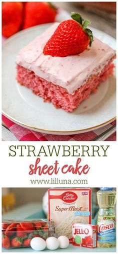 This strawberry sheet cake is especially tasty made with fresh pureed strawberries and topped with an amazing homemade strawberry frosting!#strawberrysheetcake #strawberrycake #sheetcake #cake #strawberry Strawberry Sheet Cakes, Strawberry Frosting, Strawberry Desserts, Cheesecake Desserts, Köstliche Desserts, Dessert Recipes, Recipes Dinner, Sheet Cake Recipes, Homemade Cake Recipes