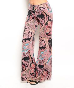 Another great find on #zulily! Pink & Black Paisley Palazzo Pants #zulilyfinds