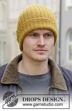 Knitted hat / hipster-hat for men with rib in DROPS Sky. Free Chunky Knitting Patterns, Beanie Knitting Patterns Free, Free Knitting, Knitting Socks, Drops Design, Knit Hat For Men, Hats For Men, Crochet Gloves, Knitted Hats