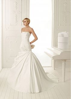 Amazing Satin Mermaid Strapless Neckline Drop Waist Wedding Dress With Beaded Lace Appliques