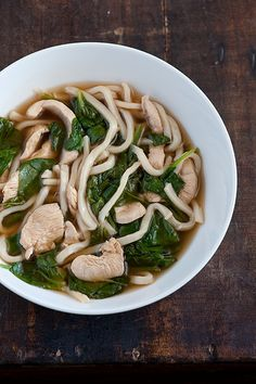Spinach with Chicken udon noodles