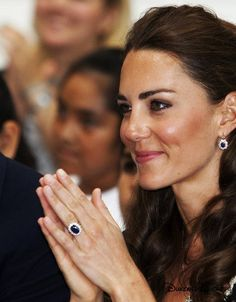 • Diamond & Sapphire Drop Earrings - Another of Diana's jewelry pieces that Kate is often seen wearing are the diamond and sapphire earrings that William gave to his new wife shortly after they tied the knot in 2011. Dianas heavy studs, which matched her engagement ring, were among Diana's most treasured jewels. She wore them at countless events in the 80s and 90s. They were remodeled into drop earrings for the duchess