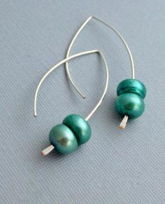 Pearl Earrings, Turquoise Freshwater Pearl Earrings, Dangling Earrings. $18.00, via Etsy.