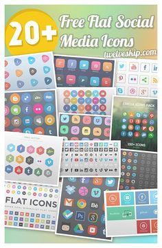 Flat social media icons: http://www.twelveskip.com/resources/icons/982/quality-sets-of-flat-social-media-icons