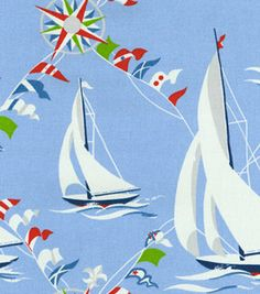 Home Decor Print Fabric-Waverly Set Sail/Blue MarineHome Decor Print Fabric-Waverly Set Sail/Blue Marine, Waverly Bedding, Waverly Fabric, Boat Decor, Lake Decor, Porch Swing Cushions, Waverly Wallpaper, Space Fabric, Pillow Fabric, Cabin Design