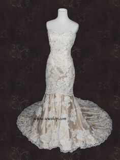 Strapless Sweetheart Ivory Lace Champagne Lining Mermaid by ieie, $599.99