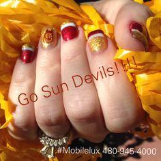 #mobilelux asu sun devils nail art by lulu