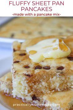 Baked Pancakes, Fluffy Pancakes, Waffles, Cake Mix Pancakes, Back To School Breakfast, Perfect Breakfast, Mini Chocolate Chips, Savoury Cake, Breakfast Recipes