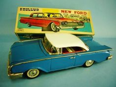 Rare! NEW FORD BONNET Japan HAJI Opening HOOD CLassic LUXURY CAR Litho Tin Toy