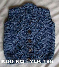 gorgeous baby ve bu boy's vest Toddler Cardigan, Knitted Baby Cardigan, Knit Baby Sweaters, Knit Baby Booties, Knitted Baby Clothes, Baby Knitting Patterns, Knitting For Kids, Baby Boy Vest, Sweater Fashion