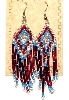 "Beaded Earrings 3"" Length  Silver Red & Periwinkle Blue Adorable beaded earrings for just $8.95 a pair with FREE SHIPPING within the USA. Many other colors & styles available in our ebay store. #earrings #jewelry #beadwork"