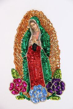 Sequinned Our Lady of Guadalupe patch by DeseosDeMexico     Mexico, Tenango, mexican wedding, textile, mexican suzani, suzani, embroidery, hand embroidered, otomi, www.casaotomi.com, otomi, table runner, fiber art, mexican, handmade, original, authetic, textile , mexico casa, mexican decor, mexican interior, frida, kahlo, mexican folk,  folk art, mexican house, mexican home, puebla collection, las flores, travel tote, boho, tote, handbag, purse, cushion, pillow, gift basket, deer, antlers