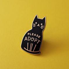 Adopt a Cat Enamel Pin by kookoobird on Etsy