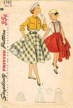 1950s Simplicity 3783 Vintage Sewing Pattern Girls Skirt, Petticoat, Blouse, Cropped Jacket Size 10