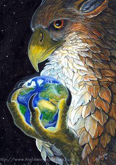 """Gryphon Tarot: The World"" par Kristen M. Buckner"