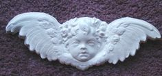 wide x high and totally divine Cast of this Cherub Head Plaster Mold and apply them in a repeated circle around your light fixture Or create heavenly cherub artwork by Decorative Plaster, Plaster Molds, Concrete Molds, Elegant Home Decor, Diy Molding, Stencil Painting, Cherub, Yard Art, Lion Sculpture