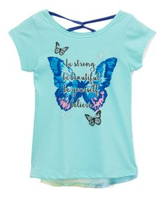 This Aqua Sheer-Accent 'Be Strong' Tee - Girls is perfect! #zulilyfinds