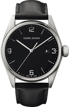 Georg Jensen Delta Stainless Steel and Leather Watch 42mm - for Women
