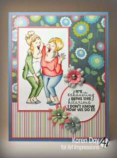 Art Impressions Rubber Stamps: Laughing Set by Karen Day