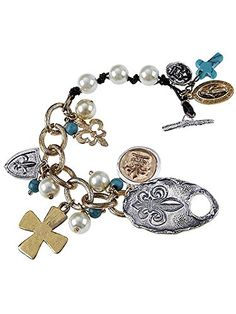 Gold Silver and Turquoise Fleur De Lis with Cross Pearl Accent Bracelet , Cross Pearl Accent Leather Mixed,materials Plastic Materials Gemstone/stone,pearl Length 8.0 Inch Unknown http://www.amazon.com/dp/B00L2M5F0A/ref=cm_sw_r_pi_dp_nyMLvb1W1E32A