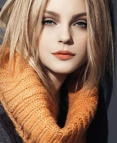 Soft muted eyes and a kiss of tangerine.