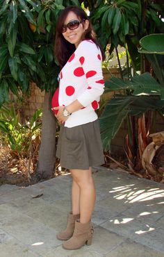 red polka dots cardigan - maternity outfit - office outfit - church outfit (skirt is a little short though)