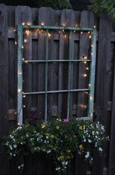 Magical Fairy Lights and Hanging Flowers #OldWindowOutdoor #WindowOutdoor #OldWindow