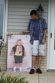 """Last"" First-day-of-school photo.  Senior year, holding Kindergarten first-day-of-school photo.  Oh, where did the time go?"