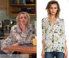 Big Bang Theory: Season 9 Episode 10 Penny's Blue Floral Print Blouse