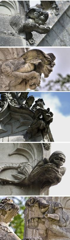 The Gremlins Chapel featuring Goldorak and Alien (Saint-Jean-de-Boiseau, France) This photo is of modern types of gargoyles from films, TV and comics. I like this one because it gives a new view on gargoyles. Gremlins, Statues, Dragons, Scary, Creepy, Ange Demon, Gothic Architecture, Koi, Sculpture