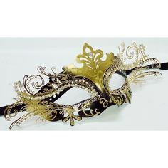 Elegant Black/gold Venetian Laser Cut Masquerade Ball Party Mask ($14) ❤ liked on Polyvore featuring costumes, elegant halloween costumes, masquerade halloween costumes, black costume, party costumes and ball costume