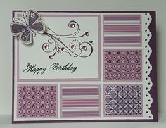 Paper Perfect Designs: stampin up. Nice use for scraps of DSP. Pretty Cards, Cute Cards, Patchwork Cards, Butterfly Cards, Card Sketches, Happy Birthday Cards, Paper Cards, Creative Cards, Greeting Cards Handmade