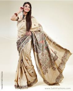 Beige and brown tussar Kalamkari handpainted saree, Rs.8950.....buy it from sakhifashions.in