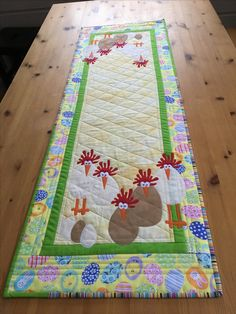 Cute Spring Chicken Appliques adorn this Easter Table Runner