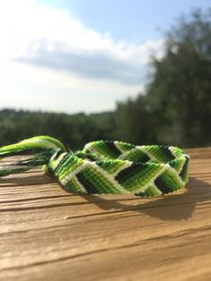 Green Ombre ZigZag Frienship Bracelet by ToKnitOrToKnot on Etsy