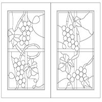 Pantry Door Glass Etched Grapes Vineyard Stained Glass