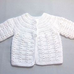 Discover thousands of images about Newborn white cardigan Infant matinee coat Baby shower Crochet Baby Sweater Pattern, Crochet Baby Sweaters, Baby Sweater Patterns, Crochet Baby Cardigan, Baby Girl Crochet, Crochet Baby Clothes, Crochet Jacket, Crochet For Boys, Newborn Crochet