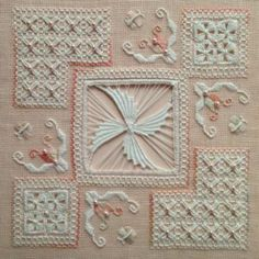 State of Grace by Gingerbread Girl Designs. A beautiful garden themed design worked in Punto Antico embroidery on 30 count Porcelain Pink linen. State Of Grace, Drawn Thread, Bargello, Cutwork, Beautiful Gardens, Gingerbread, Needlework, Swarovski Crystals, Embroidery