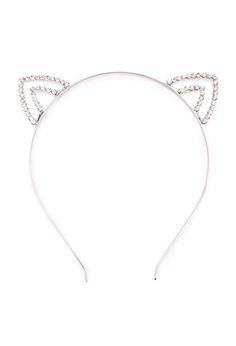 Rhinestone Cat Ears Headband | Forever 21 - 1000113567