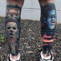 Horror Tattoos auf Waden tätowiert