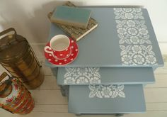Modern Nest of tables by Nice Thing - stencilled tops?